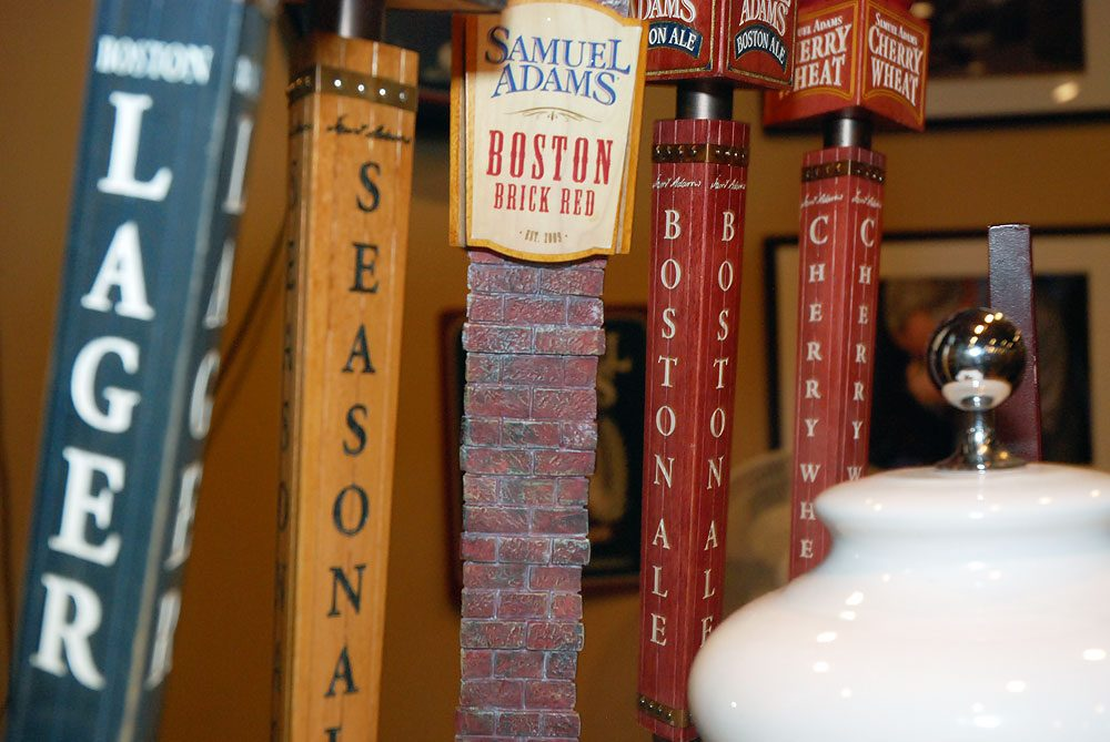 Beer always on tap at the Boston Brewing Company's Sam Adams headquarters. (Andrew Phelps/WBUR)