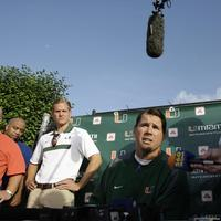 Miami's head football coach Al Golden, center, during a news conference before football practice in Coral Gables, Florida, on Thursday. (AP)