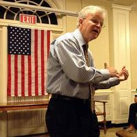 Former Louisiana Governor, Buddy Roemer campaigning in New Hampshire for president. (Adam Ragusea/WBUR)