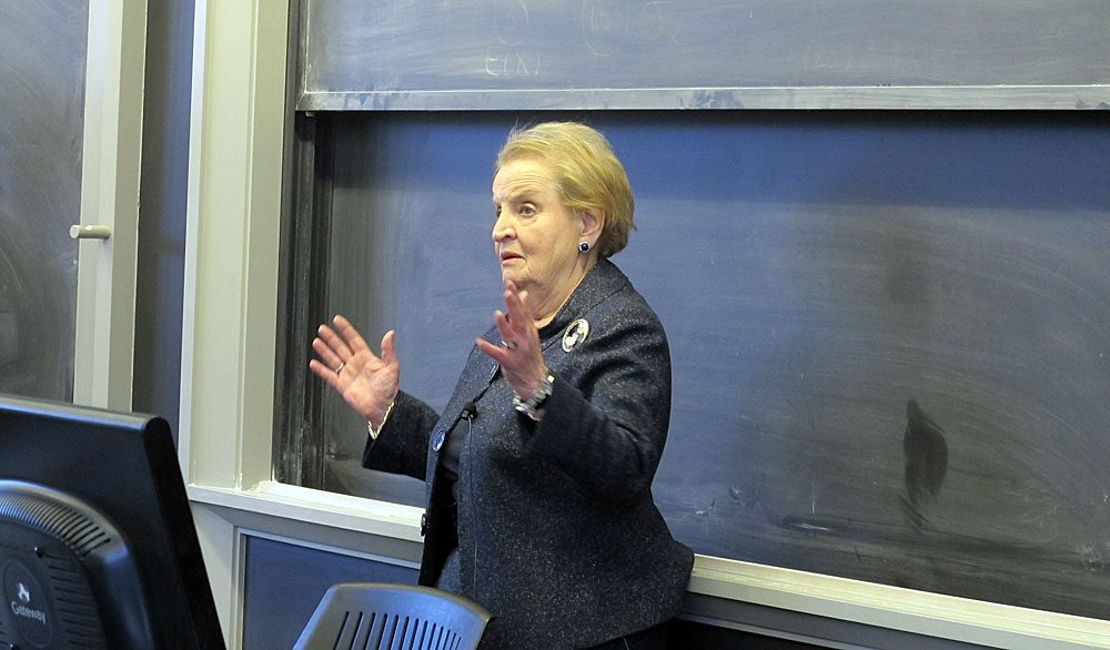 Madeleine Albright speaks with students at Wellesley College. (Jessica Alpert/WBUR)