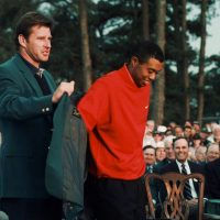 Tiger Woods won his first Masters in 1997.  Some observers consider it the defining win of his career. (AP)