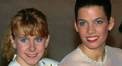 Former dance partners Nancy Kerrigan (right) and Tonya Harding. (Phil Sandlin/AP)