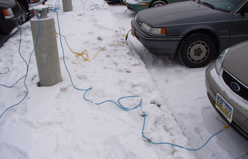 In Fairbanks, Alaska, it's not uncommon for parking lots to have plug-in stations, to keep vehicle engines warm. (ffg/Flickr)
