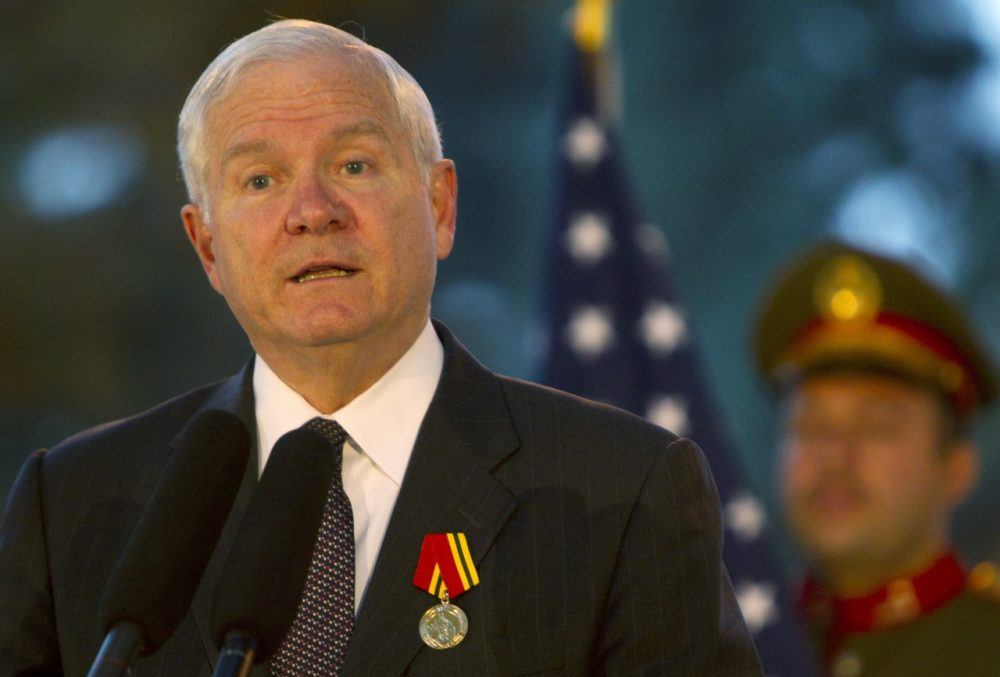 U.S Secretary of Defense Robert Gates is pictured speaking at a press conference with Afghanistan President Hamid Karzai June 4, 2011 in Kabul, Afghanistan. (Paula Bronstein/Getty Images)