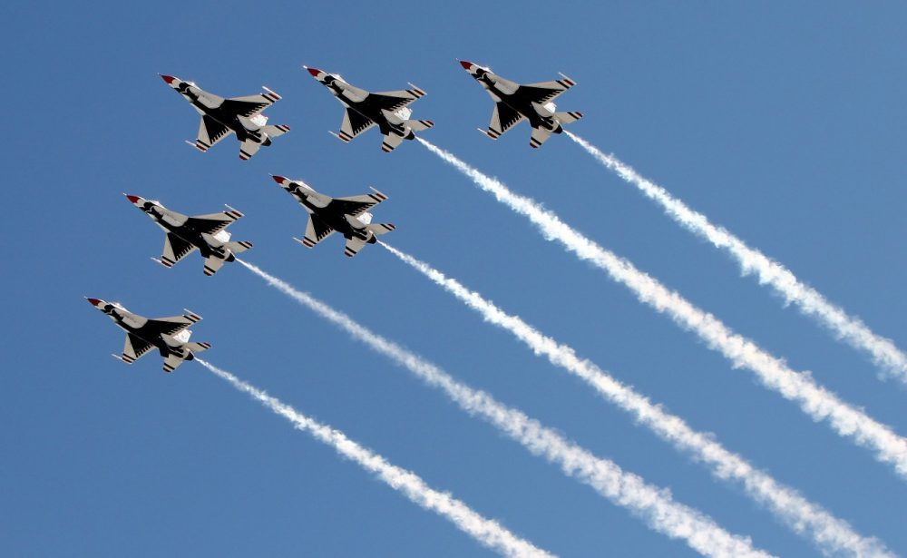 The U.S. Air Force Thunderbirds fly over during pre-race ceremonies for the NASCAR Sprint Cup Series Kobalt Tools 400 at Las Vegas Motor Speedway on March 10, 2013 in Las Vegas, Nevada. (Alex Trautwig/Getty Images)