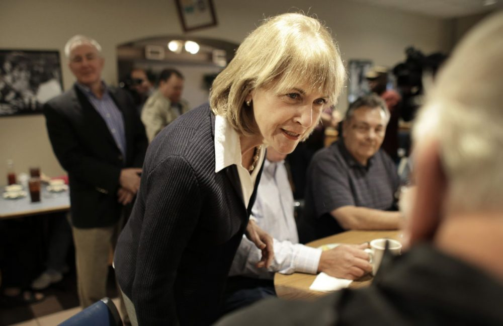 Attorney General Martha Coakley greets patrons at Morin's Diner, in Attleboro, Mass., on Sept. 16, 2013, the day she officially launched her campaign for governor. (Steven Senne/AP)