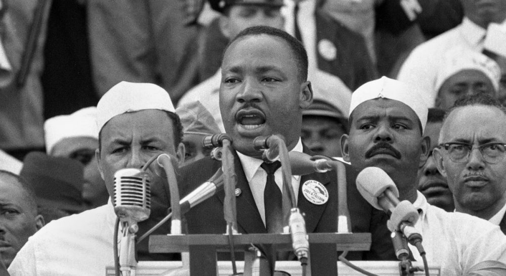 "Sharon Brody: It's a cliche --  holidays have lost their meaning and commercialism has taken over. But MLK Day seemed different... until now. In this Aug. 28, 1963 file photo Dr. Martin Luther King Jr. delivers his ""I Have a Dream"" speech at the Lincoln Memorial in Washington. (AP)"