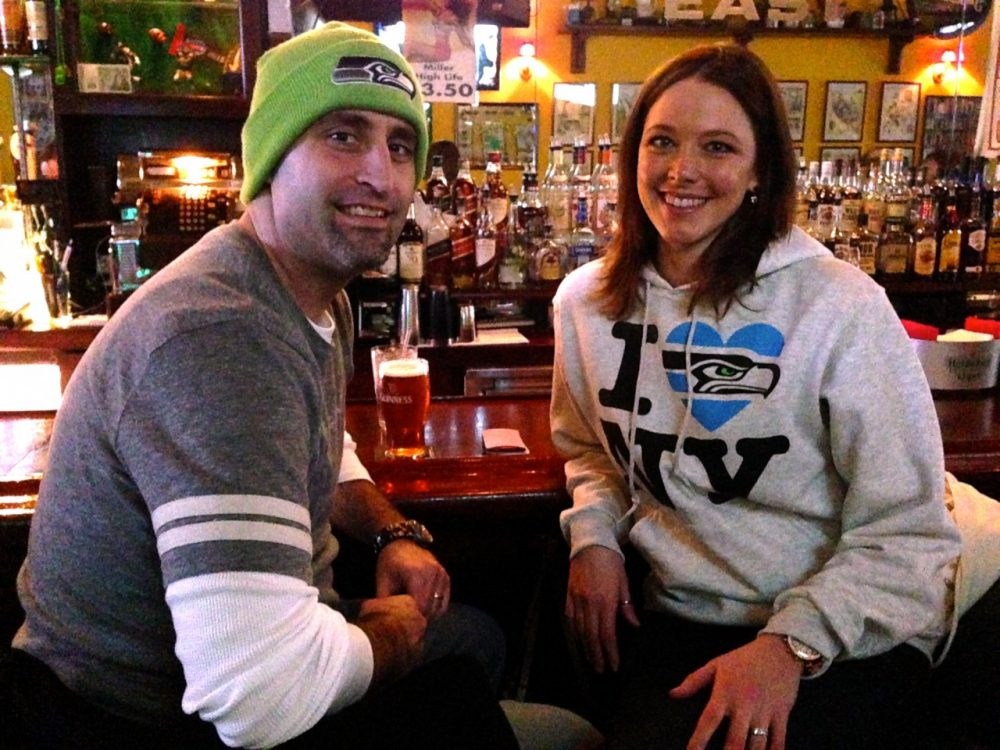 Seattle Fans Adam and Kelly Weber have found a home away from home to support their team. (Christine Laskowski/Only A Game)