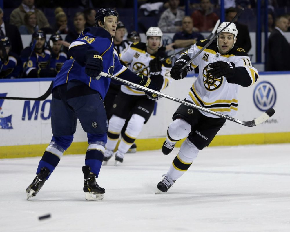 Boston Bruins' Gregory Campbell, right, and St. Louis Blues' Jay Bouwmeester, left, look for a loose puck. (AP/Jeff Roberson)