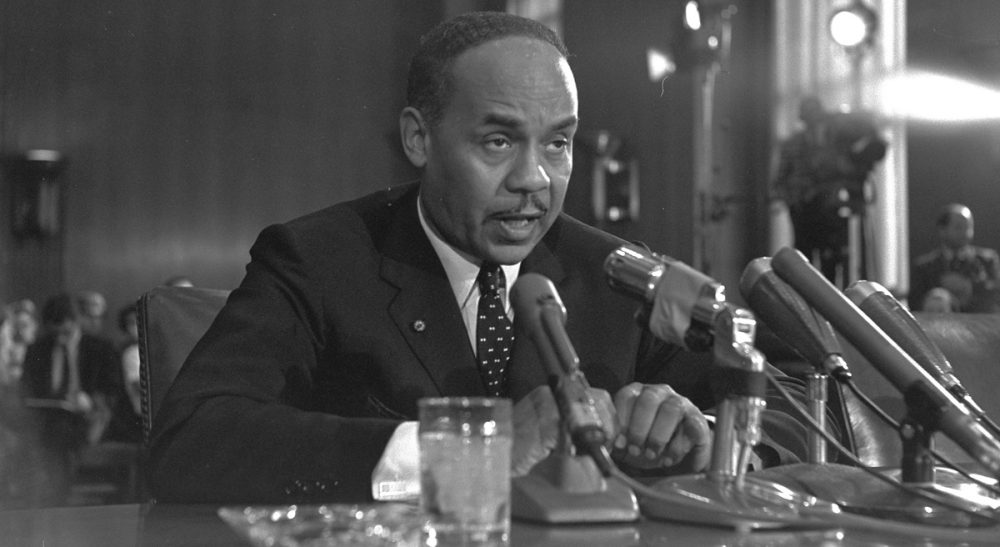 Author Ralph Ellison is a witness at a Senate Subcommittee hearing in Washington during continuing hearings on the racial problems in big cities, August 30, 1966. (AP)