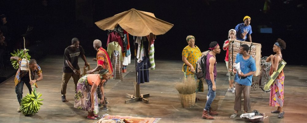"The cast of ""Witness Uganda"" at the American Repertory Theater. Griffin Matthews is wearing the red headband. (Gretjen Helene / Photography.com)"