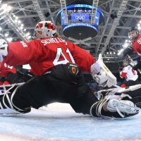 Swiss goaltender Florence Schelling made 45 saves against Canada on Monday, but it wasn't enough. (Bruce Bennett/Getty Images)