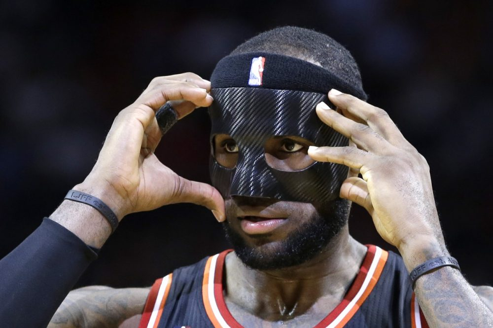 How many masks did LeBron decide between before settling on this Charlie Pierce approved facemask? (Alan Diaz/AP)