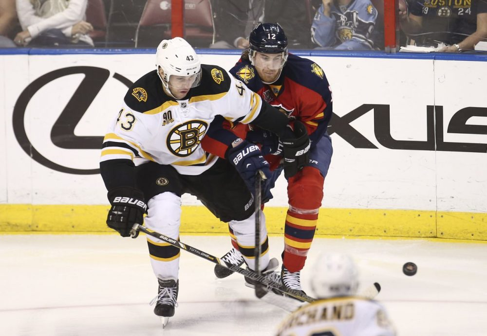 Boston Bruins' Matt Bartkowski (43) and Florida Panthers' Jimmy Hayes (12) chase the puck. (AP/J Pat Carter)