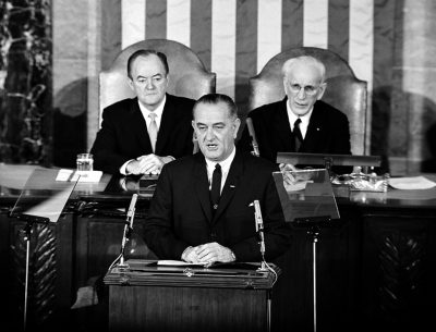 President Johnson addresses a joint session of Congress on March 15, 1965, to outline his proposals for voting rights for all citizens. (AP)