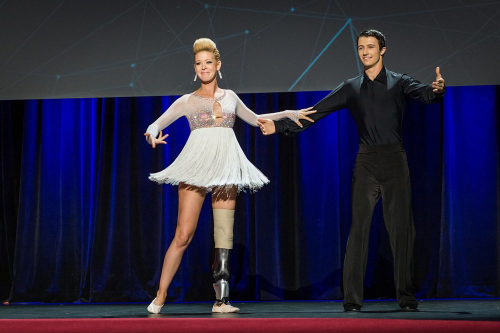 Marathon bombing victim Adrianne Haslet-Davis dances at the TED Conference in Vancouver on March 19. (James Duncan Davidson/TED via Flickr)