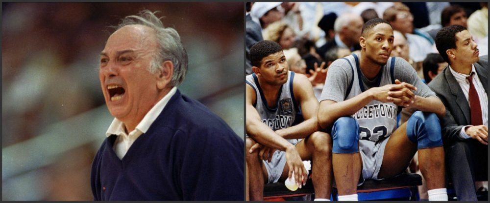 Princeton coach Pete Carril (left) was frustrated by the Tigers' loss to Georgetown in the 1989 NCAA tournament. Alonzo Mourning (right photo center) and the Hoyas suffered their own defeat in the Elite 8. (AP)