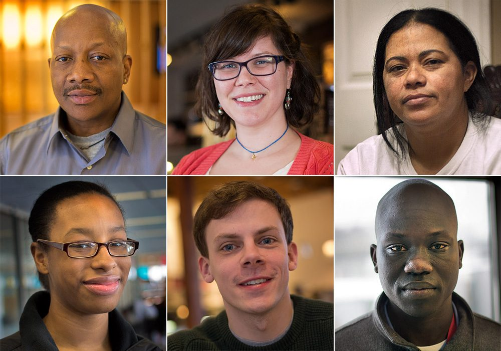 From left, clockwise: Larry, Allison, Ines, Emmanuel, Tom and Jordan (WBUR)