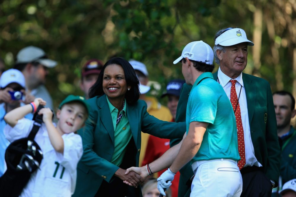 Augusta National member Condolezza Rice greats Rory McIllroy and children partaking in the Hit, Putt event. (David Cannon/Getty Images)