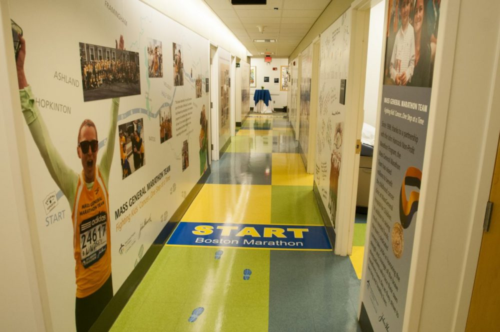 A mural in MGH's pediatric cancer clinic tells the story of the hospital's marathon team, which was founded by Dr. Howard Weinstein, chief of MGH's pediatric hematology-oncology program, in 1998. (Courtesy MGH)