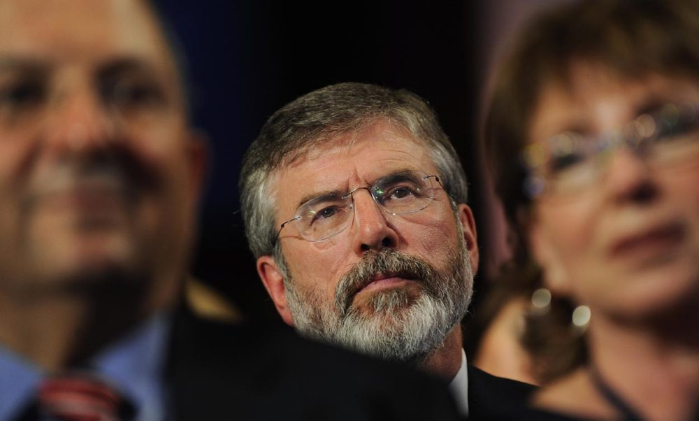 Sinn Fein leader Gerry Adams listens to a speech at the Clinton Global Initiative 2009 Annual Meeting in New York. (Stephen Chernin/AP)