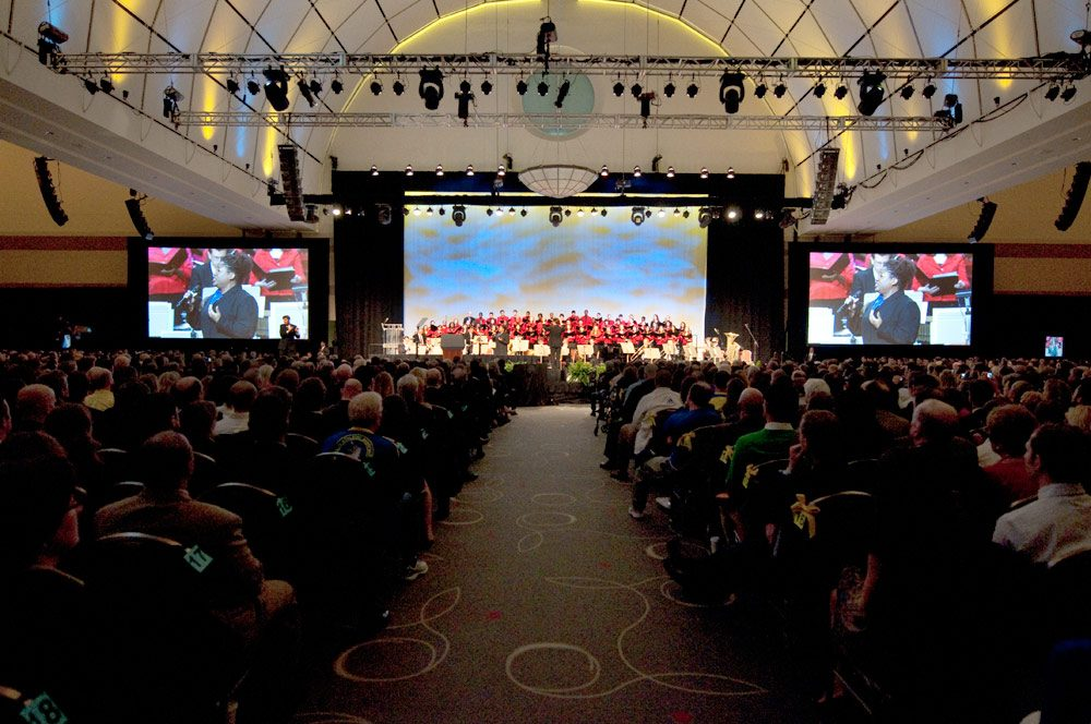 The Boston Pops Esplanade Orchestra plays at the start of the tribute at the Hynes Convention Center. (The Tribute Committee)