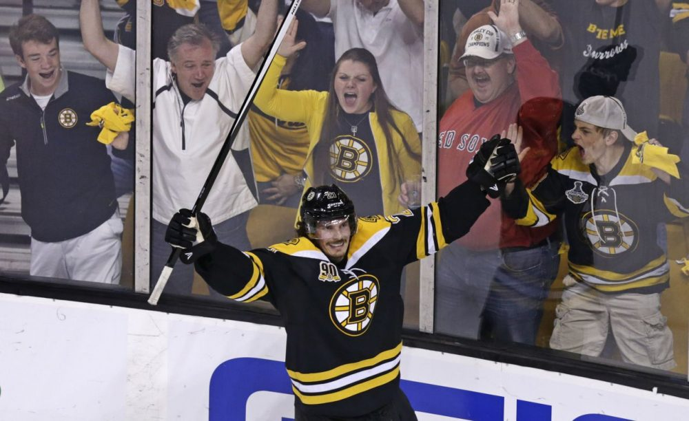 Boston Bruins left wing Loui Eriksson (21) celebrates his goal against Montreal Canadiens goalie Carey Price during the third period of Game 5. (Charles Krupa/AP)