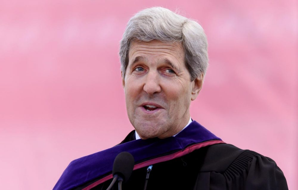 Secretary of State John Kerry delivers the commencement address at Boston College Monday. (Stephan Savoia/AP)