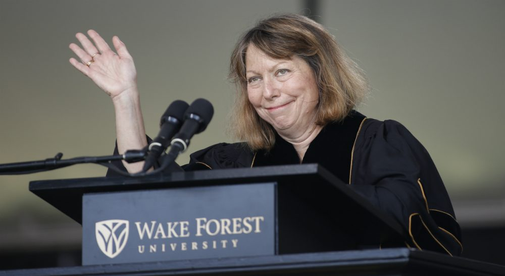 """Everyone is fungible"": It's not the most uplifting message for college grads, says Carey Goldberg, but it's the truth. In this photo, Abramson, former executive editor of The New York Times, speaks at the commencement ceremony at Wake Forest University on Monday, May 19, 2014. (Neil Redmond/AP)"