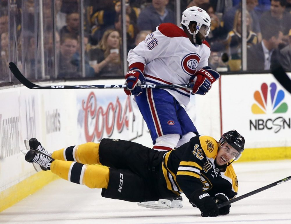 The two teams have played more postseason series against one another than any other NHL team. Above, Bruins right wing Reilly Smith crashed with Montreal Canadiens defenseman P.K. Subban, in Game 1 of the Eastern conference Semi-finals . (Elise Amendola/AP)