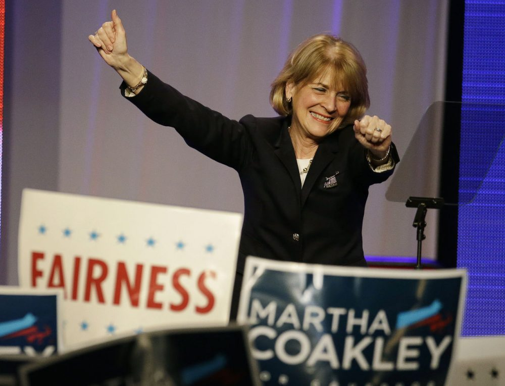 Massachusetts Attorney General and candidate for governor Martha Coakley led the race by a wide margin in early public opinion polls. (Stephan Savoia/AP)