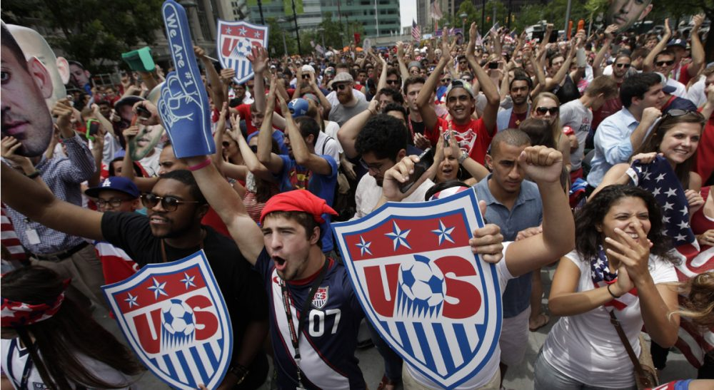 What happens to soccer fandom--and viewership--after the World Cup? Pictured: United States fans react while watching the final minutes of the 2014 World Cup soccer match between the United States and Germany at a public viewing party, in Detroit, Thursday, June 26, 2014. Germany defeated the United States 1-0 to win Group G ahead of the Americans, who also advanced to the knockout stage of the World Cup despite losing. (Paul Sancya/AP)