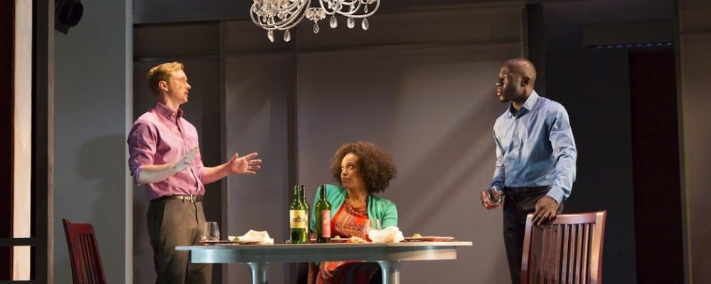 "Roderick Hill, Miranda Craigwell and McKinley Belcher III starring in ""Smart People"" at the Huntington Theatre Company. (T. Charles Erickson)"