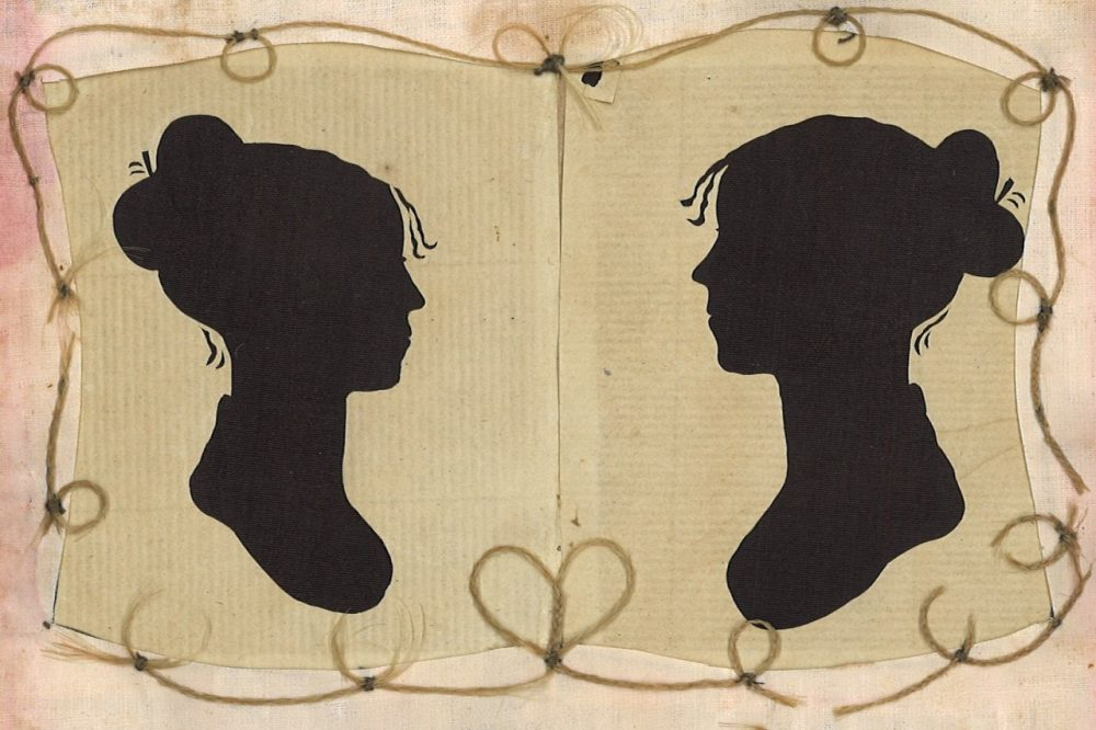 Silhouettes of Sylvia Drake and Charity Bryant framed in their braided hair. (Courtesy Henry Sheldon Museum of Vermont History)