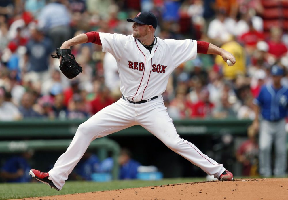 Jon Lester pitches during the first inning of a Red Sox game against the Royals earlier this month. Lester, who's 10-7 with a 2.52 ERA in 21 starts this season, was sought by many teams. (Michael Dwyer/AP)