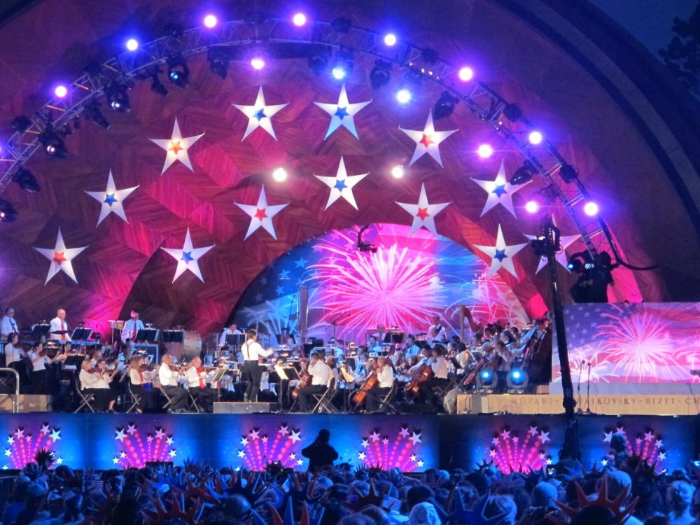The Boston Pops held their annual concert for the 4th of July celebration a day early due to impending poor weather conditions from Hurricane Arthur. (Andrea Shea/WBUR)