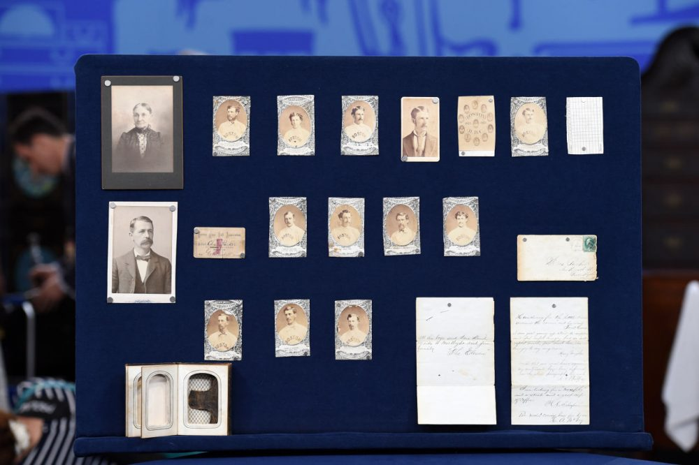 "Items that are part of the largest collection of early Boston baseball memorabilia in the 19-year history of the program ""Antiques Roadshow"" in New York. (Leila Dunbar, Meredith Nierman/AP)"