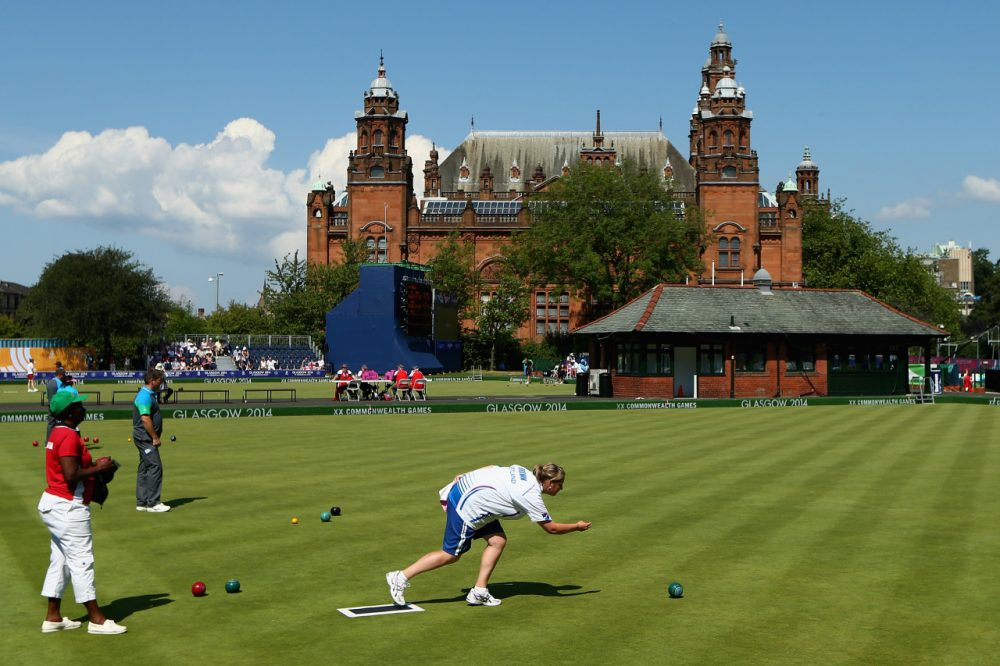 Kelvingrove Museum provided a unique backdrop for the lawn bowls greens at the Commonwealth Games  in Glasgow. (Cameron Spencer/Getty Images)