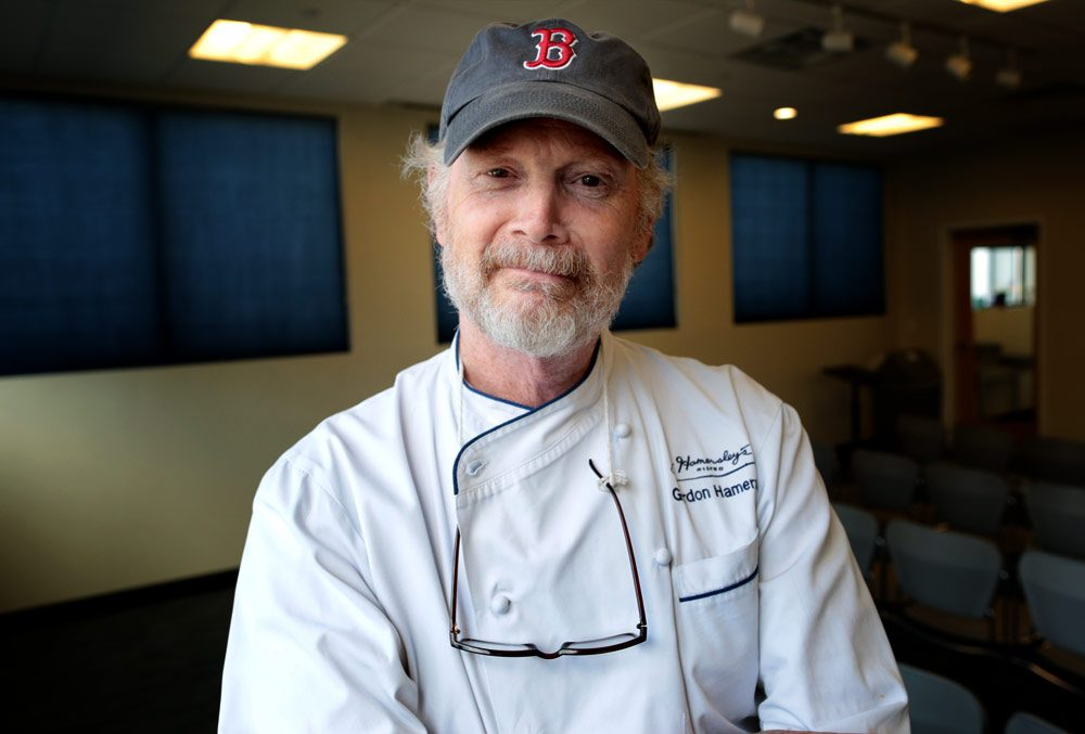 Gordon Hamersley, chef and co-owner of Hamersley's Bistro in Boston's South End, in WBUR's studios. (Robin Lubbock/WBUR)