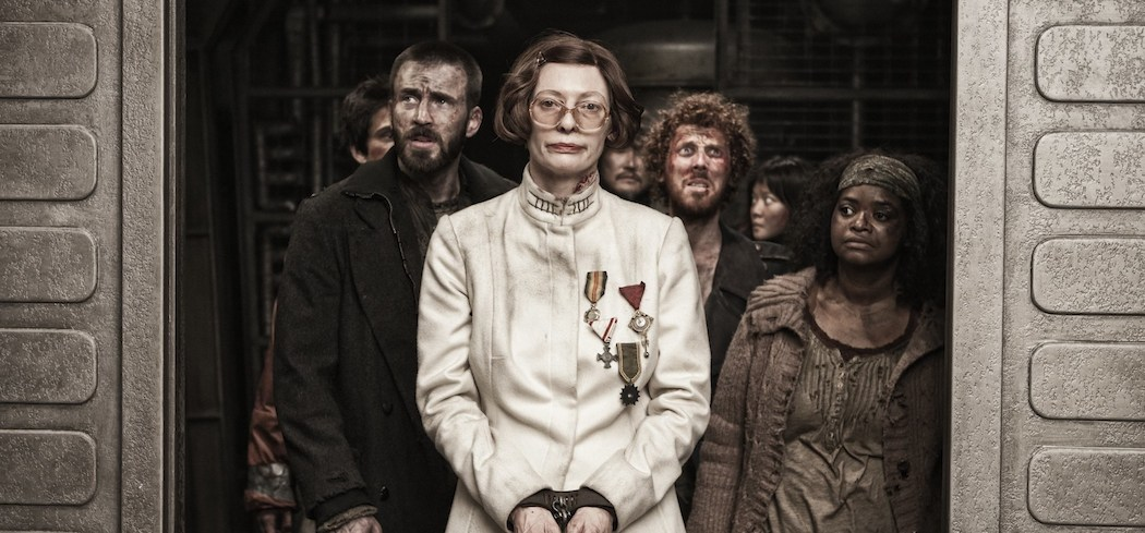 "Tilda Swinton and the cast of ""Snowpiercer."" (Courtesy)"