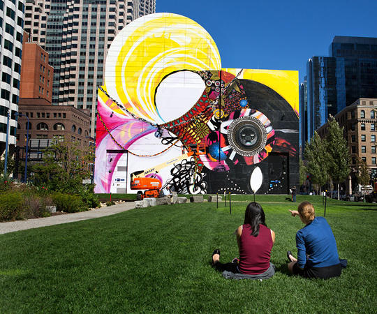 Boston balances yesterday with today the year in arts for Dewey square mural