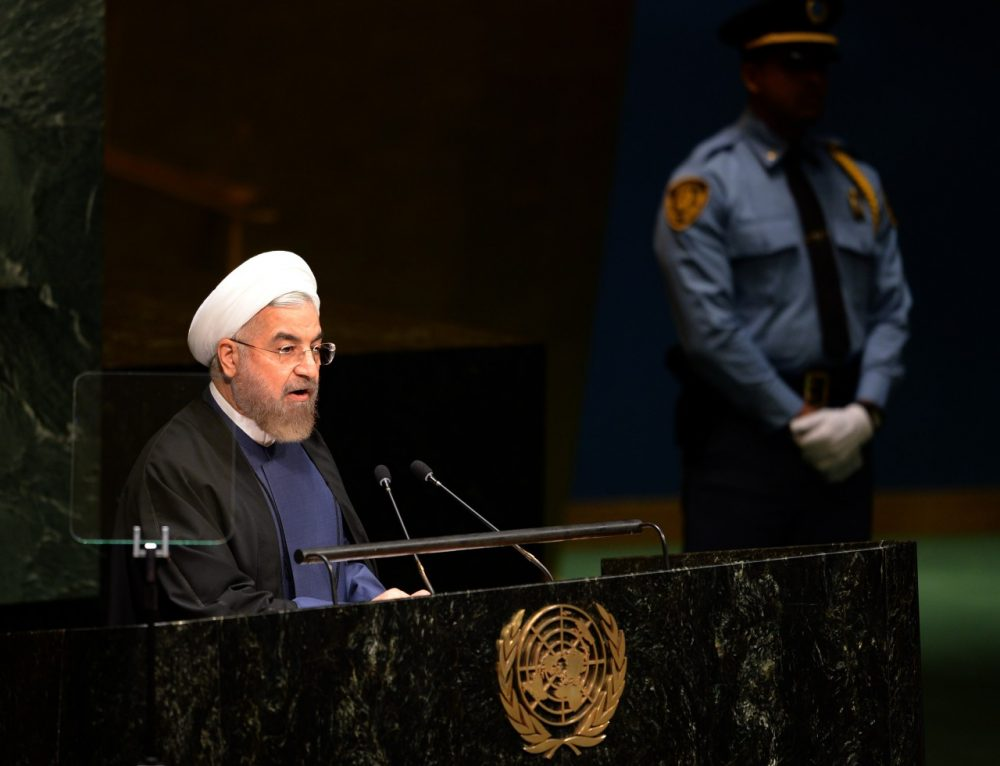President of Iran Hassan Rouhani addresses the 69th session of the United Nations General Assembly September 25, 2014 at the United Nations in New York. (Don Emmert/AFP/Getty Images)