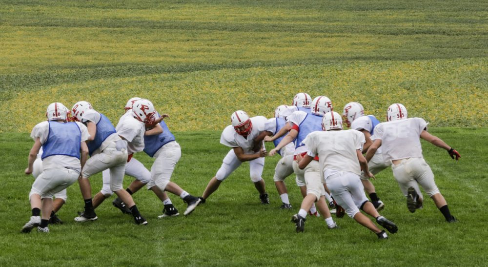 "Steve Almond: ""What is a dangerous, insanely commercialized form of athletic combat doing in our public schools?"" Pictured:  Members of the Platteview High School football team practice in Springfield, Neb. (Nati Harnik/AP)"