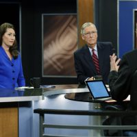 "U.S. Senate Minority Leader Mitch McConnell (R) Ky., center, and Democratic opponent, Kentucky Secretary of State Alison Lundergan Grimes, rehearsed with host Bill Goodman before their appearance on ""Kentucky Tonight"" television broadcast live from KET studios in Lexington, Ky.,Monday, Oct. 13, 2014. (AP)"