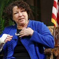 U.S. Supreme Court Justice Sonia Sotomayor gestures as she speaks at Oklahoma City University in Oklahoma City, Thursday, Sept. 11, 2014.  (AP)