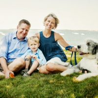 Liss Murphy this summer, with husband Brian, son Owen and sheepdog Ned. (Courtesy)