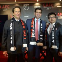 Peter Guber (left), Tom Penn (middle) and Henry Nguyen ( right) lead the ownership group of the new LA franchise hoping to challenge the LA Galaxy for LA soccer prominence. (Charley Gallay/Getty Images for LAFC)