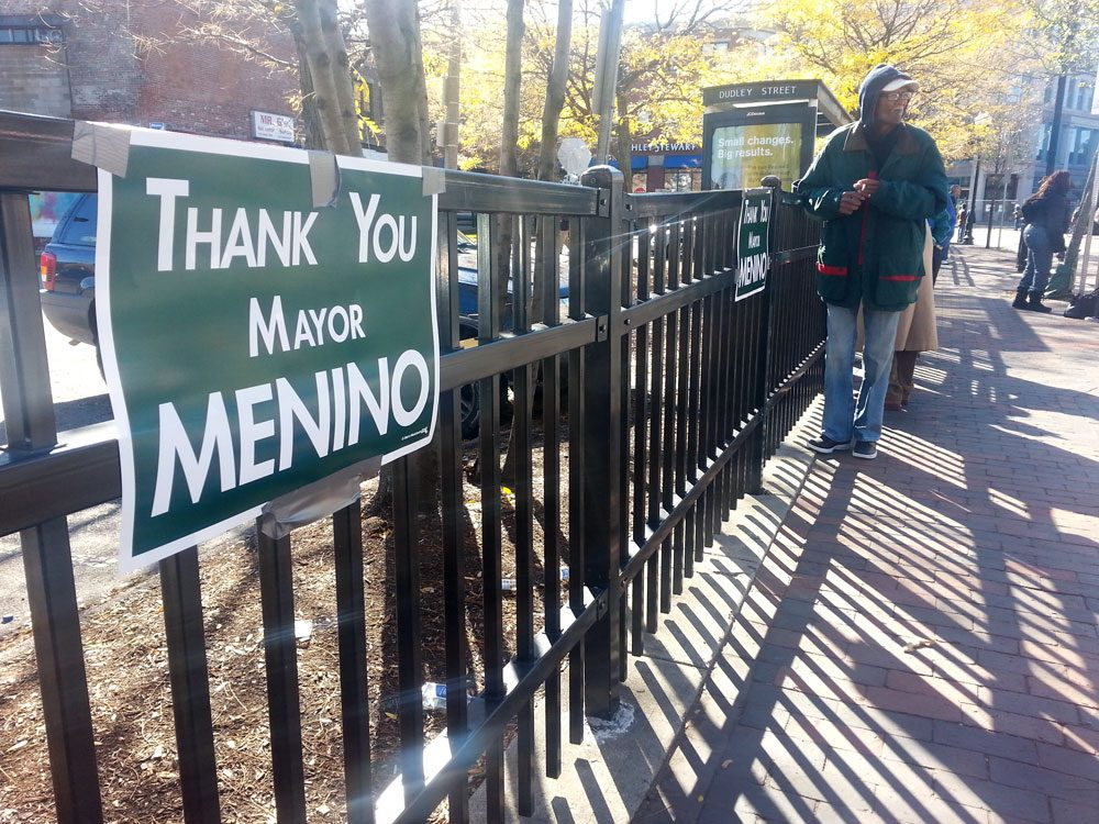 """Thank you Mayor Menino"" signs were everywhere in Dudley Square. (Zeninjor Enwemeka/WBUR)"