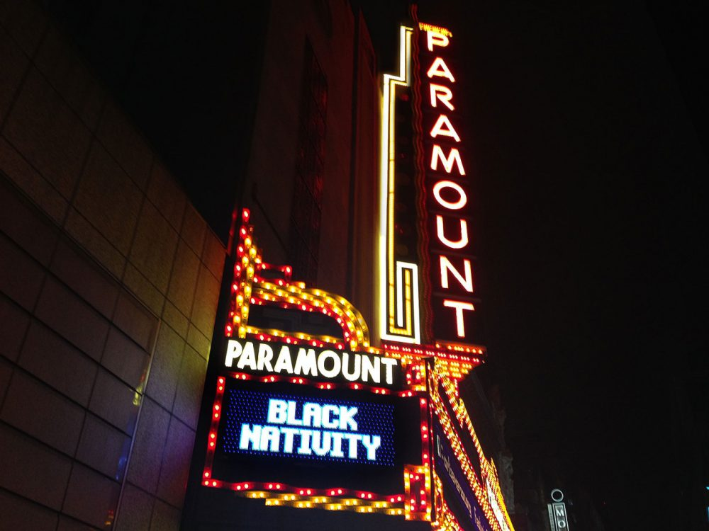 "The marquee advertising ""Black Nativity"" at the Paramount Theater in Boston's theater district. (Delores Handy/WBUR)"