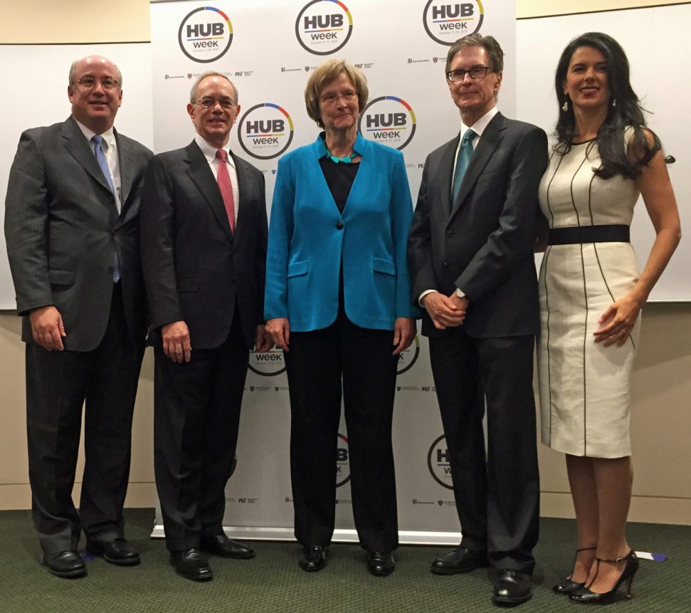 At the HUBweek announcement, from left to right: Peter Slavin, president, Mass General Hospital; Rafael Reif, resident, MIT; Drew Gilpin Faust, president, Harvard University; John Henry, owner, Boston Globe; Linda Pizzuti Henry, HUBweek chairwoman (Curt Nickisch/WBUR)